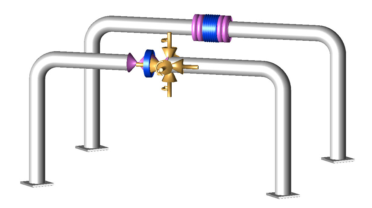 hight resolution of pipe loops with tied and untied expansion joints the foreground joint is tied it has tie rods to prevent axial growth of the expansion joint