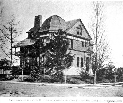 0 Residence of Mr. Geo. Faulkner of Dowling Avenue and King Street.