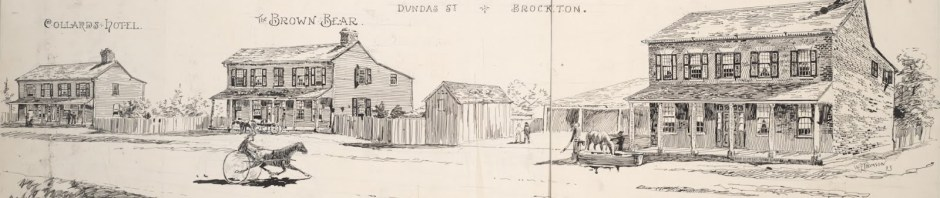 1850-The south side of Dundas between Dufferin and Sheridan circa 1850 Then know as the village of Brockton