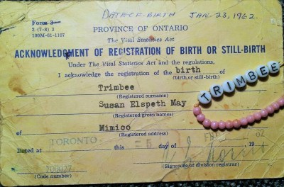 b 70 Brock St. Sunny Clark's birth certificate 1962, with bracelet from St Joes