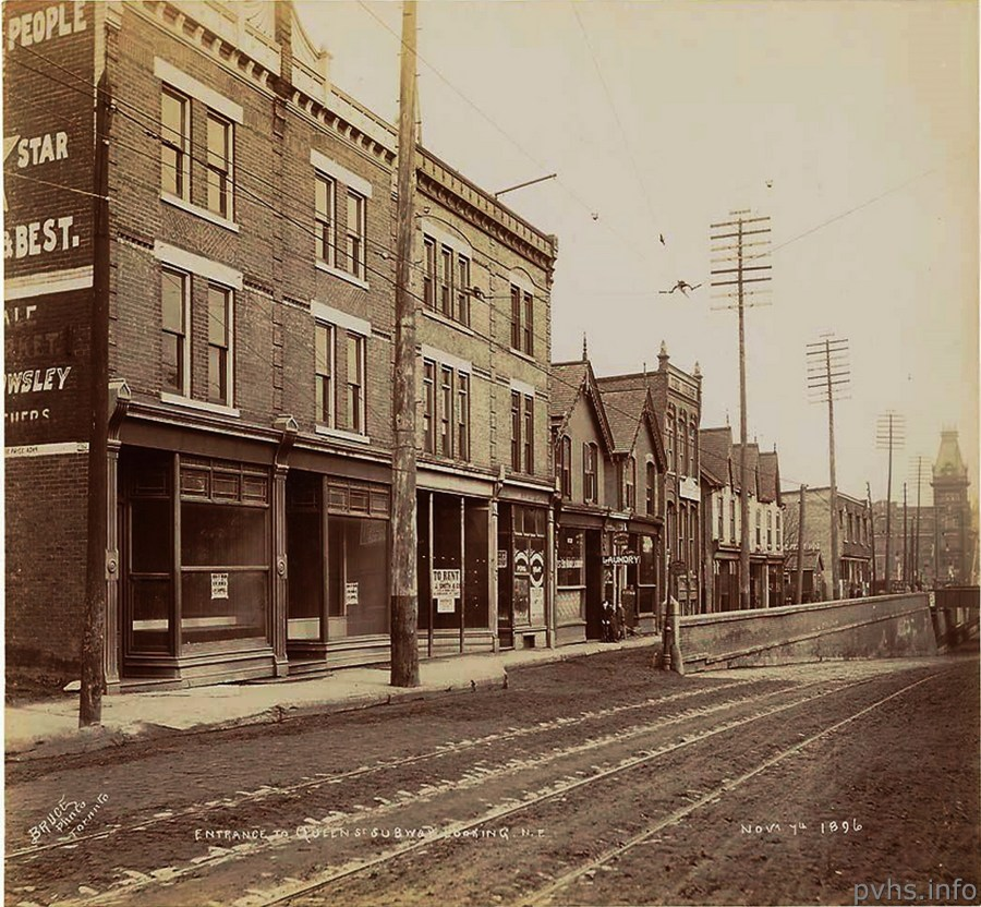 q 1280 Queen St W at Gwynne looking east about 1900