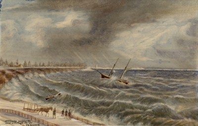 1861 J G Howard of Thomas Tinning Rescuing Crew of Pacific, looking east Humber Bay at Parkdale cliff. TPL