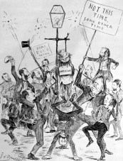 The Great Anit-Annexation demonstration in Parkdale. (As it was to have been.) Courtesy/TORONTO PUBLIC LIBRARY J.W. Bengough's editorial cartoon appear in Grip on 3 November 1888, a week after the Parkdale electorate voted to join Toronto. It shows several leaders of the anti-annexation Citizens' Protective Association.