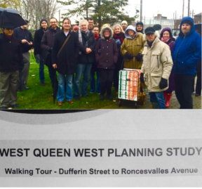 Avery Carr, Gord Perks and a determined core group stayed the full two hours in the rain to contribute to building a better Parkdale.