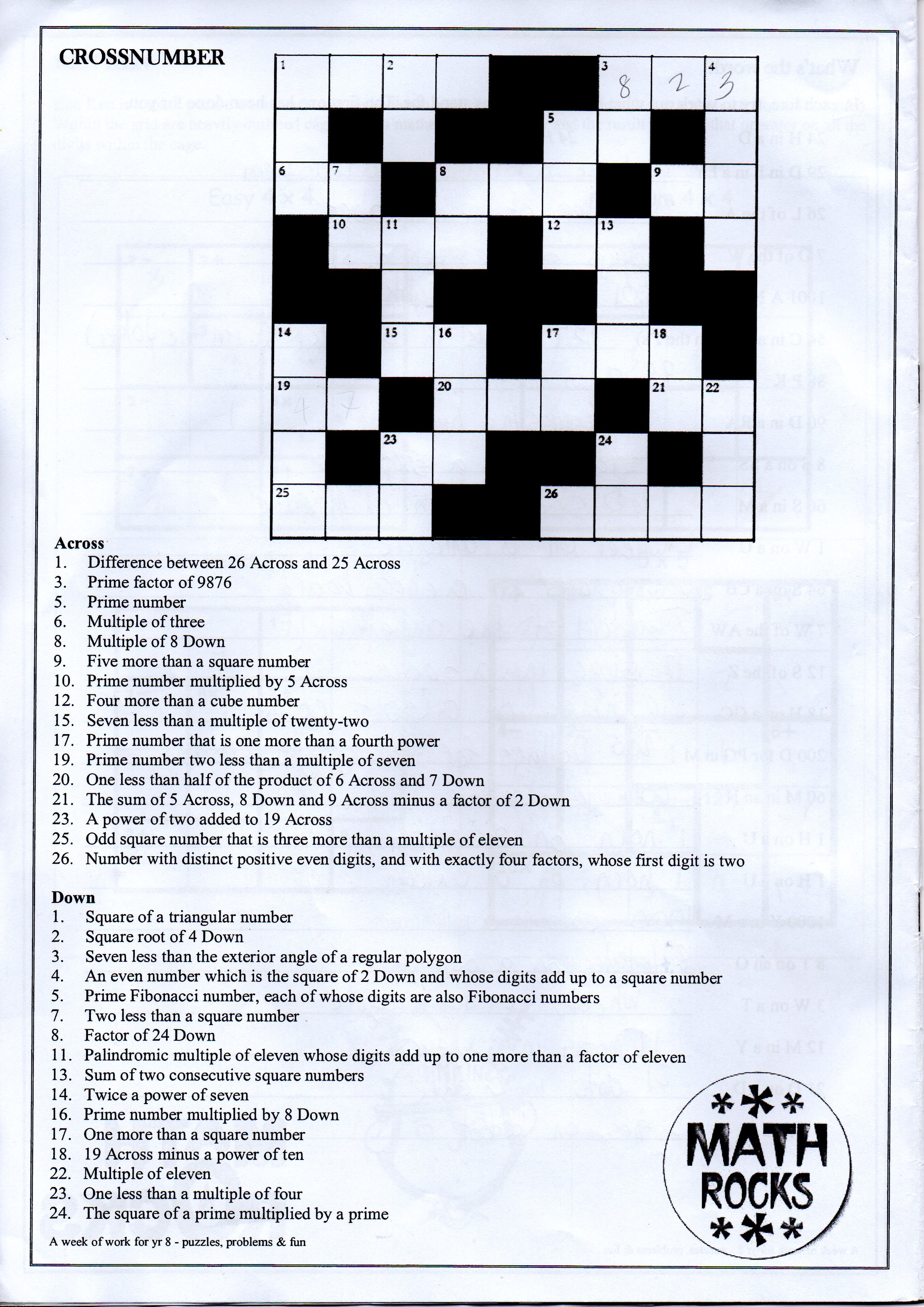 06 27 Vincent S Year 8 Math Crossword Problem