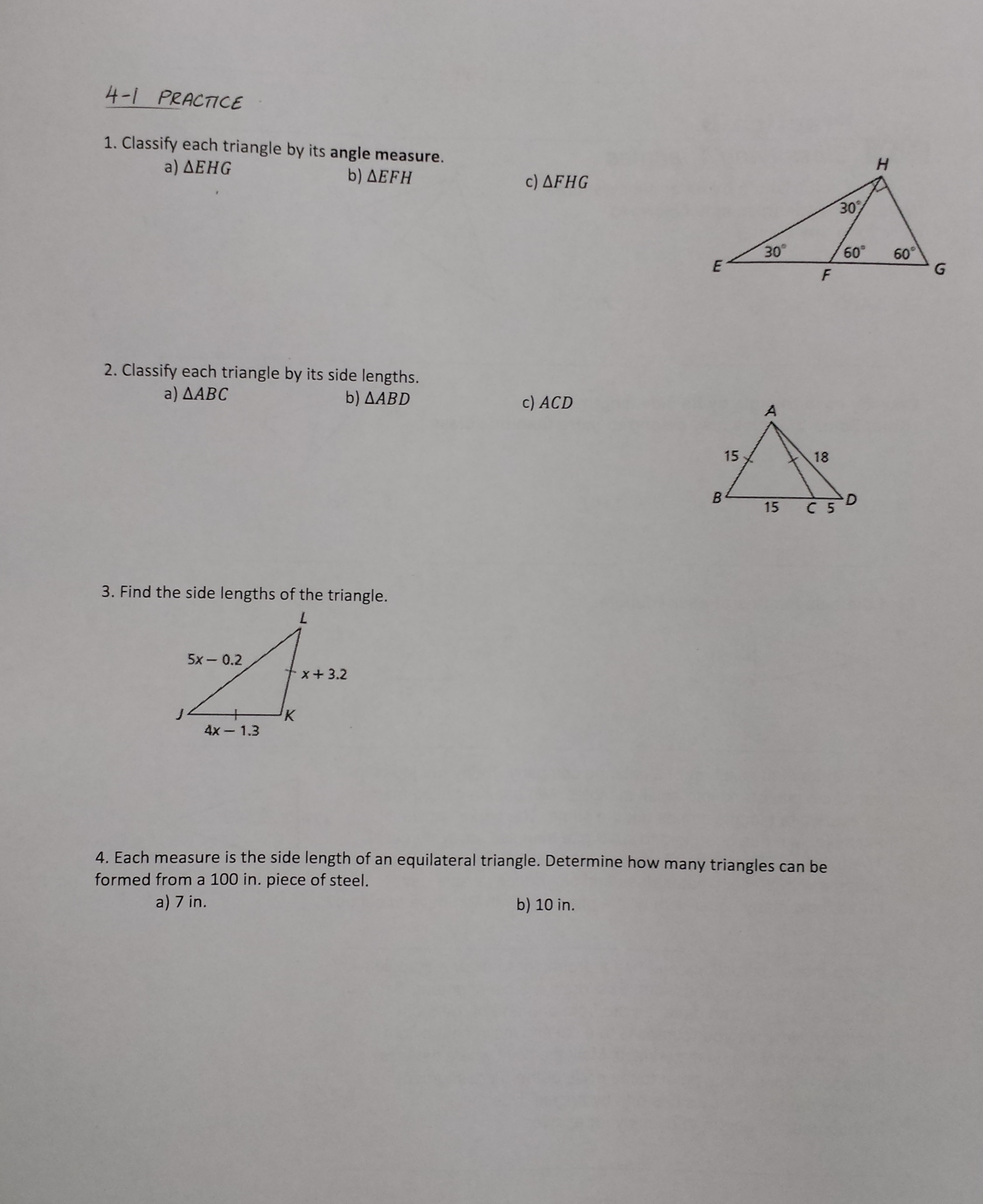 Geometry 4 6 Worksheet Proving Triangles Congruent With Hl