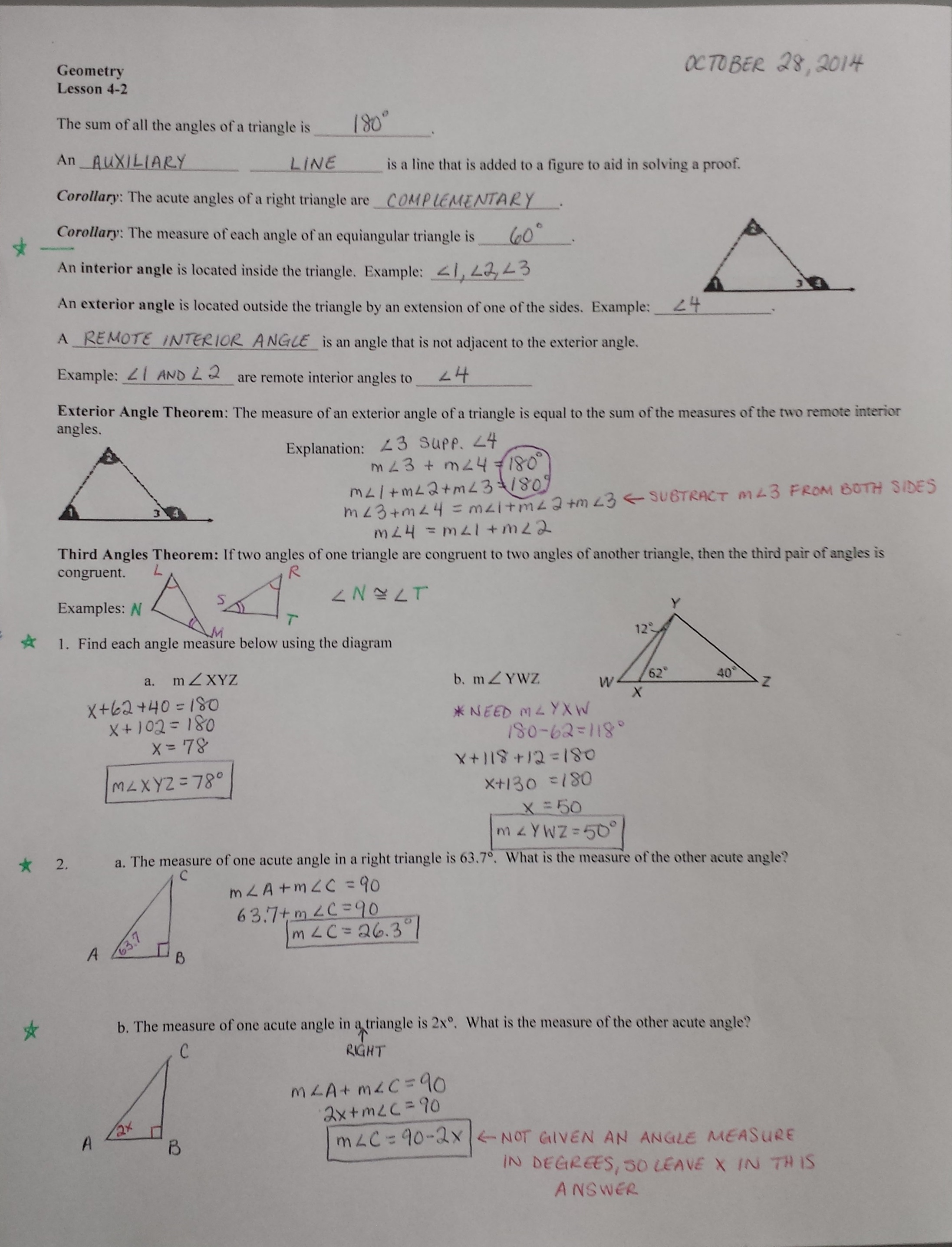 Geometry Congruent Triangles Hw6 8th 10th Grade Worksheet