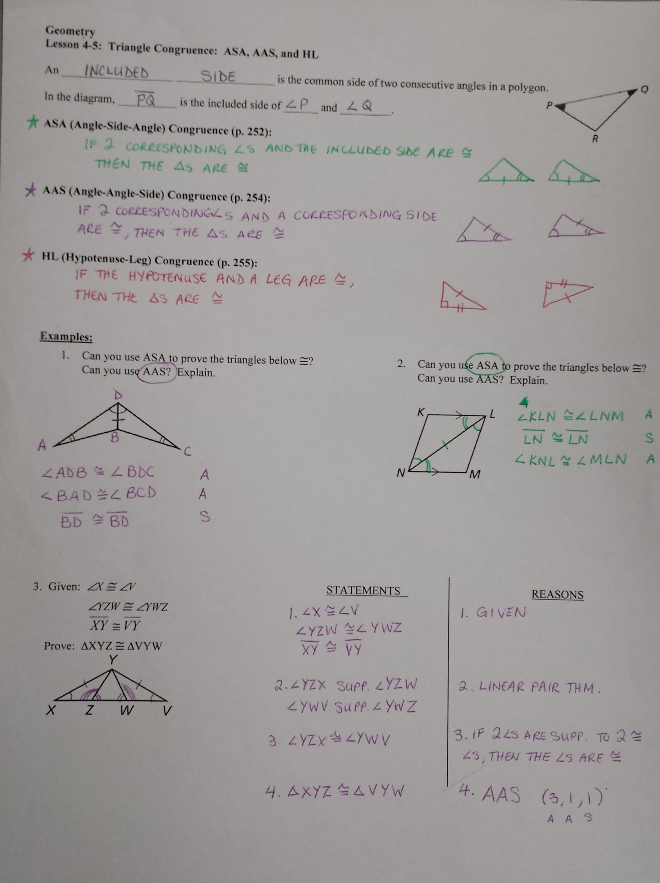Proving Triangles Congruent Worksheet Answer Key Triangle