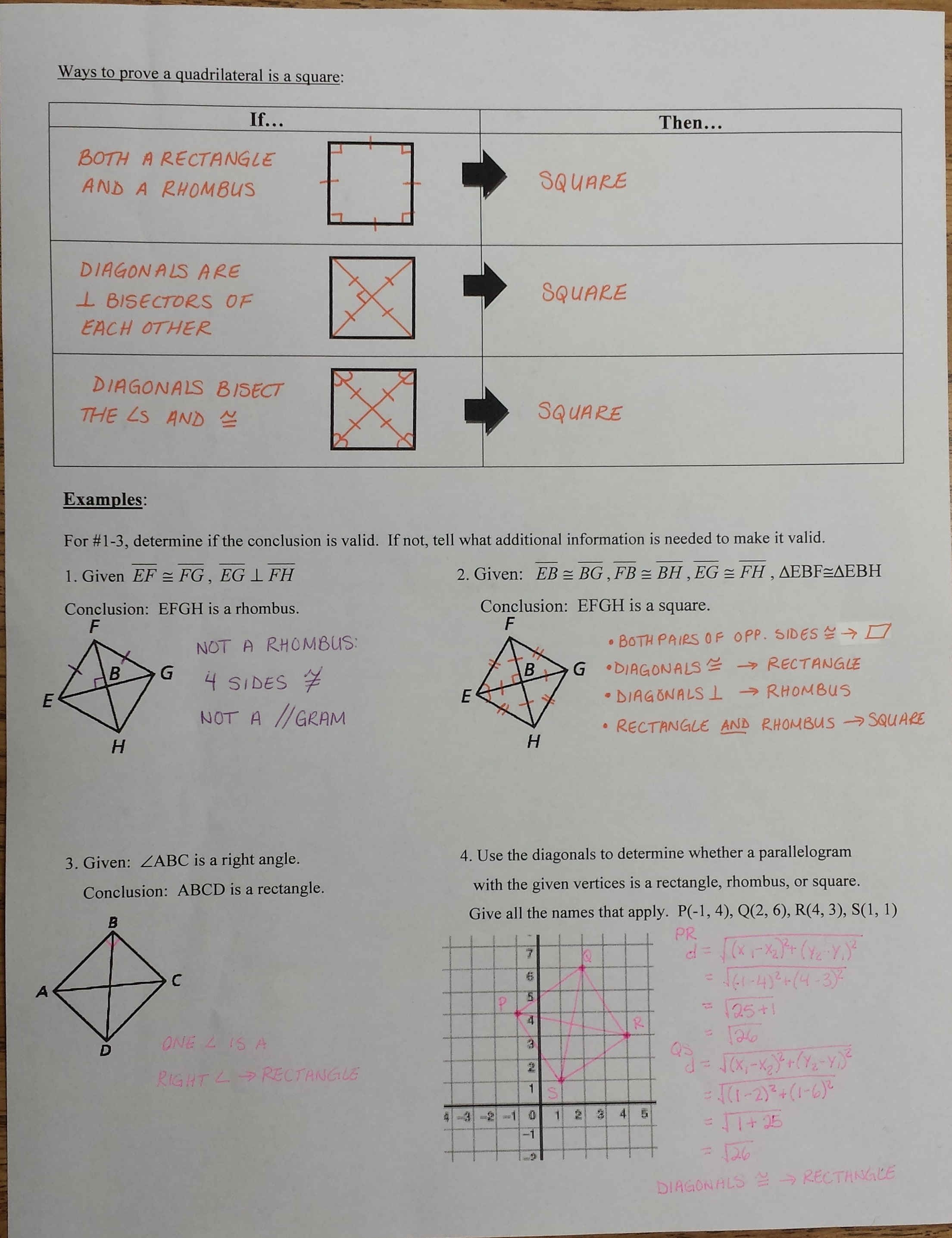 Properties Of Special Parallelograms Worksheet