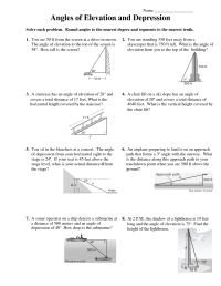 Worksheet Angles Of Depression And Elevation Free ...