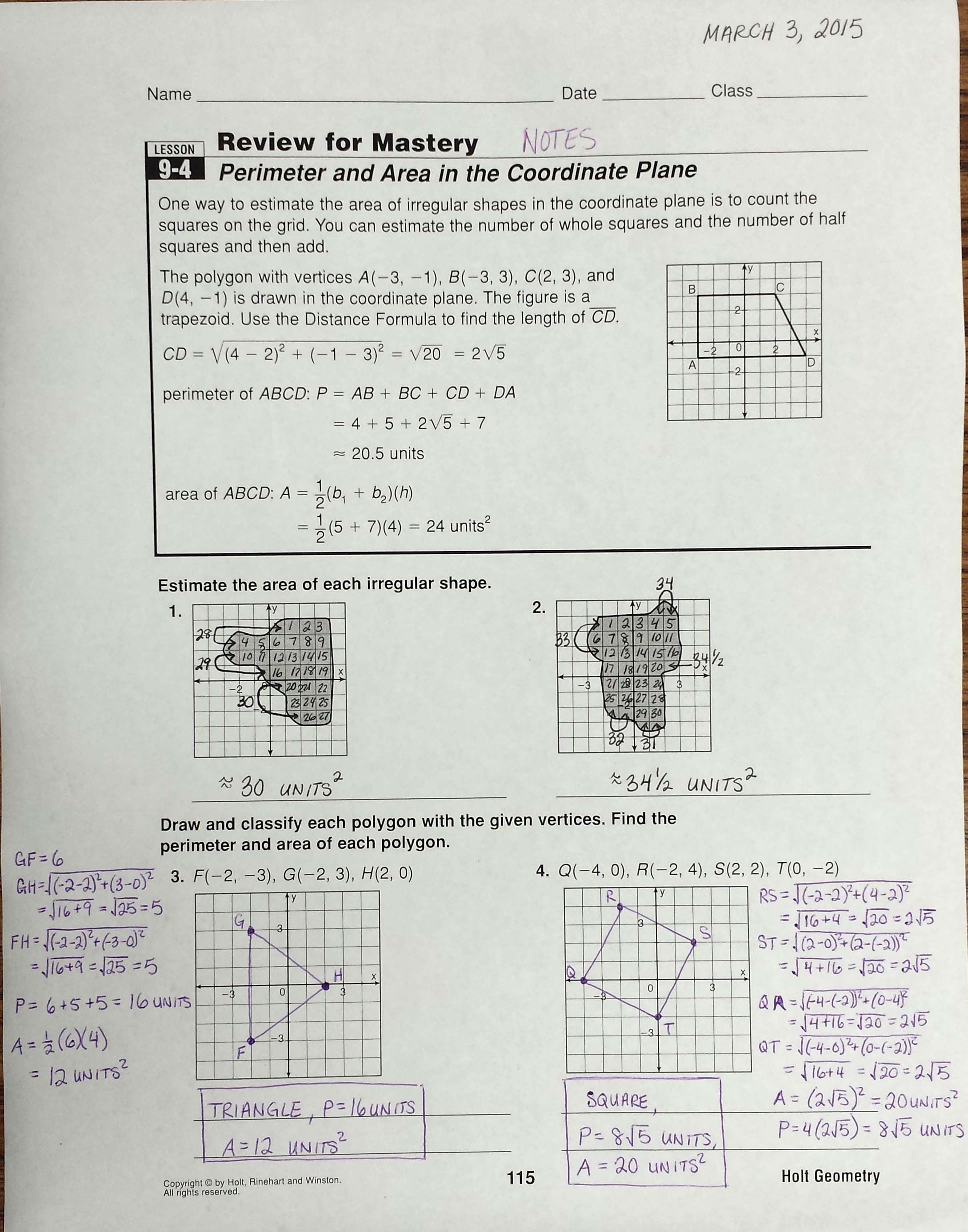 Bestseller Holt Geometry Worksheet Answers Reteach Lesson