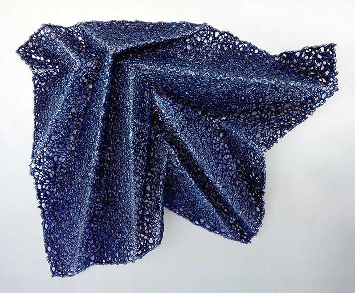 The artist's experimental approach to materials results in unique lace sculpture such as Rhythm No. 2A, which combines ideas regarding memory with research in the design principles behind the art of paper folding.