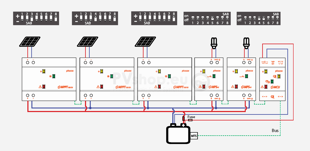 three line solar diagram shower tub plumbing drain pv system diagrams of phocos mppt mps mcu mts components for 12