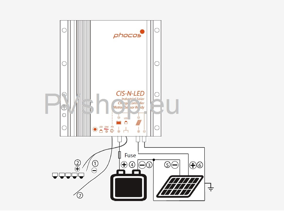 Phocos CIS-N-LED-2800 Solar Charge Controller LED-current