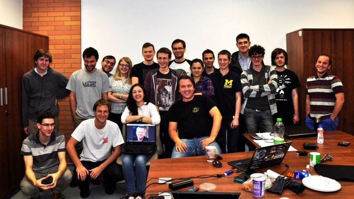 Część zespołu PW-Sata2 podczas warsztatów na koniec fazy B projektu