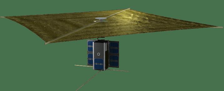 PW-Sat2 z rozłożonym żaglem deorbitacyjnym. Autor: Marcin Świetlik