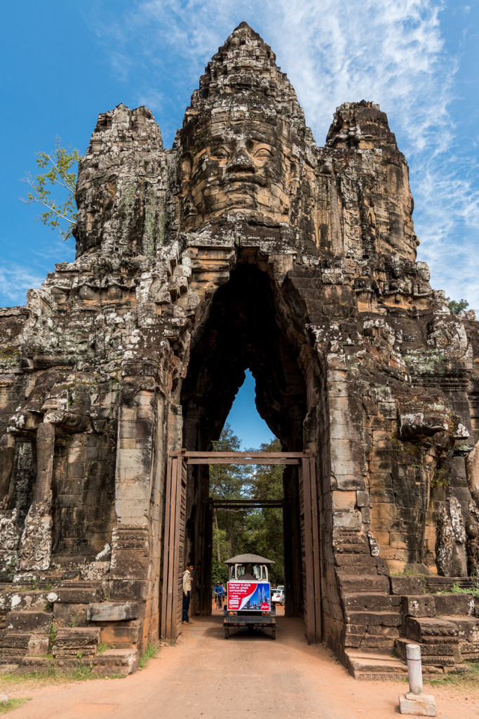 The South Gate to Angkor Thom, in Angkor, Cambodia.