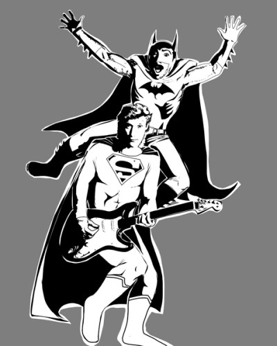 Hall & Oates Batman Drawing by Paul Watson