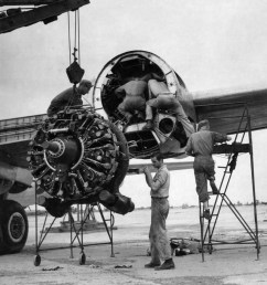 replacing an engine on a b 29 [ 1524 x 1830 Pixel ]