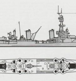 schematic diagram of pensacola class heavy cruiser [ 2079 x 1083 Pixel ]