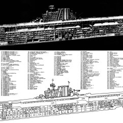 Aircraft Carrier Diagram Sony Marine Radio Wiring The Pacific War Online Encyclopedia Yorktown Class U S Fleet Carriers Cutaway Of A