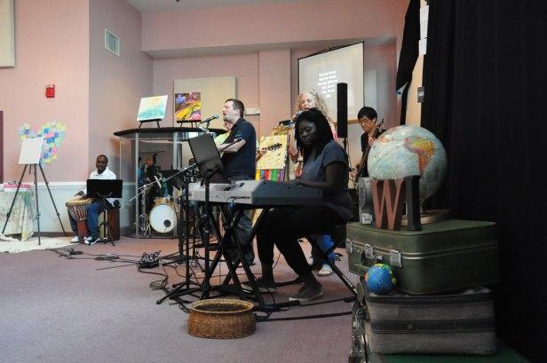 Students and teachers lead worship together