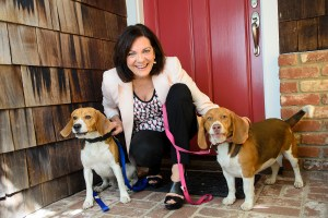 Pam with her pet pals Gracie and George.