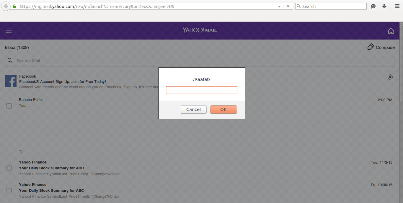 Persistent XSS – Yahoo Mail Inbox by PWN Rules!