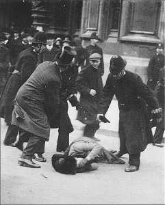 Suffragette Ada Wright, beaten by British police during the Black Friday Riot