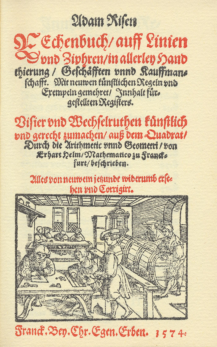 Adam Riese 1574 Title Page