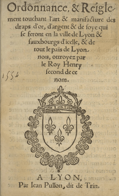 Silk weavers ordinance from Lyon, title page