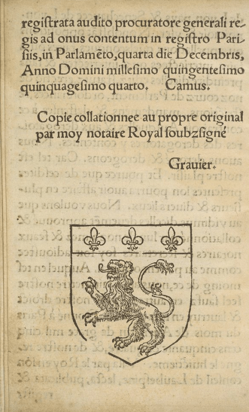 The arms of Lyon in the colophon