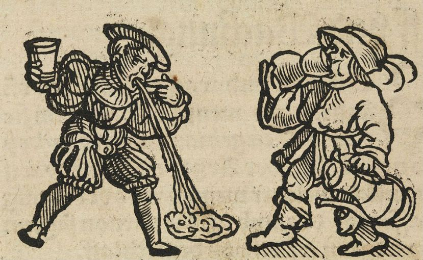 Woodcut featuring two drunk men