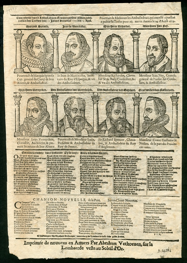 a broadsheet with a woodcut depicting the Habsburg ambassadors and dignitaries