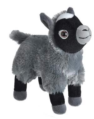 Wild Republic Plush goat stuffed toy, black and grey