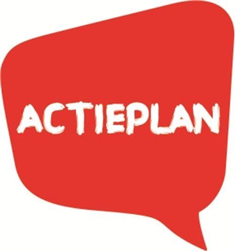 """Afbeelding van een rode tekstwolk met de tekst: """"Actieplan""""."""