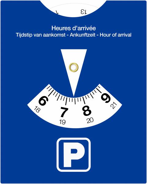 Afbeelding van een blauwe parkeerschijf.