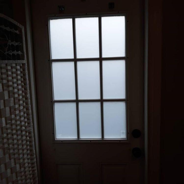 Llumar frost film on a door