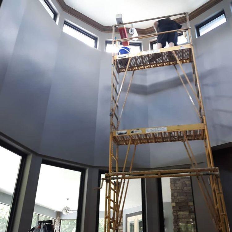 Installing window film on a scaffold