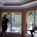 Installing window film on residential glass.
