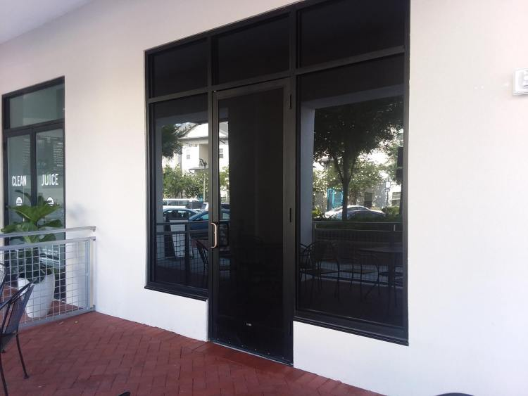 Window film. Window tint  on commercial windows
