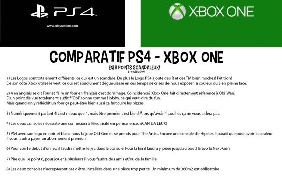 Comparatif Xbox One PS4 Scandaleux