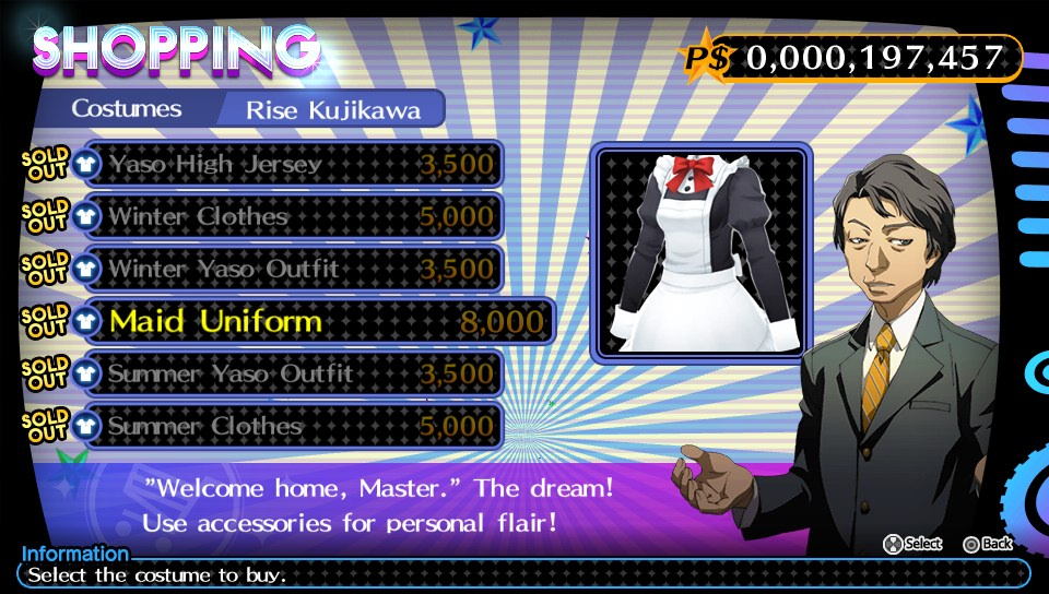 Persona 4 Dancing All Night boutique