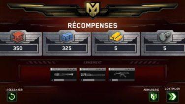 Les récompenses de fin de missions.