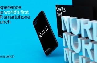 Présentation du OnePlus Nord le 21 Juillet 2020. Image montrant le téléphone ainsi que des logos Nord sur fond bleu.