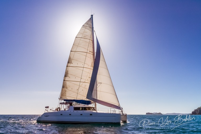 Backlit catamaran