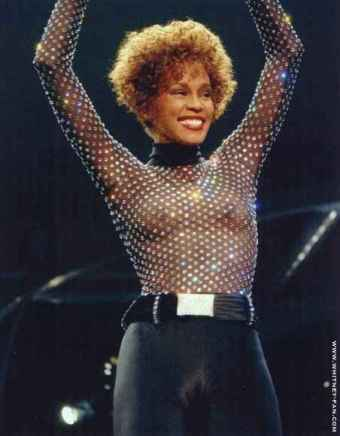 Whitney Houston tits in see-through shirt