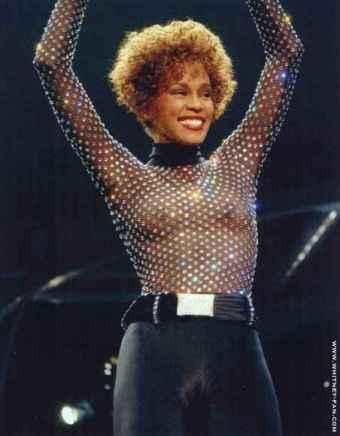 Whitney Houston tits in see-through shirt