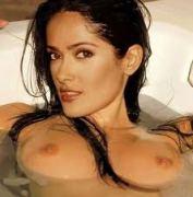 Salma Hayek topless tits in bath