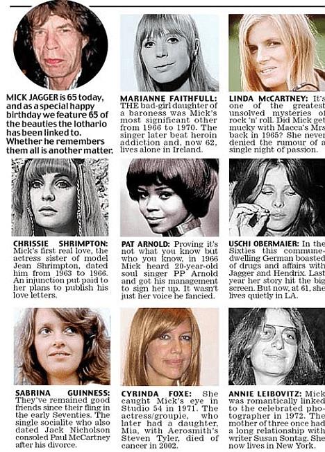 Mick Jagger conquests